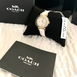 NWT authentic COACH leather strap watch white